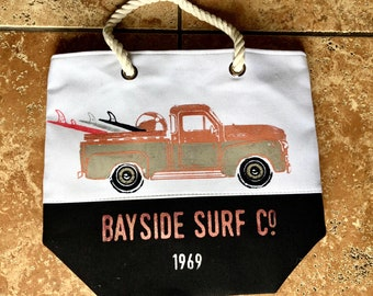 Vintage truck beach bag-you pick the colors
