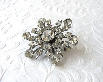 Rhinestone Scatter Pin Vintage Costume Jewelry Brooch 6 Six Point Star Coat Hat Lapel Dress Gown Wedding Bridal Formal Pageant Prom Evening
