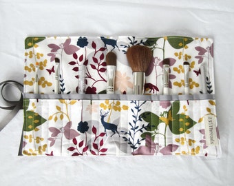 Makeup brush roll cosmetic roll mother's day gift for her multicolor woodland floral with gray