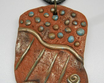 Tribal 'Rain' Pendant, Tribal Pendant Necklace, Polymer Clay Terracotta, Rain Gods
