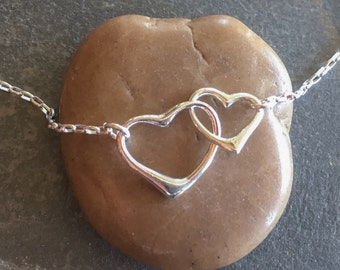 Heart sterling silver necklace, Valentines Day, wedding, Mothers Day