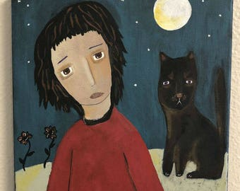 """SALE,Folk Art Painting,Under the Moon,Whimsical,Primitive,Boy,Cat Art,Outsider,Home Decor,Wall Decor,10""""x10"""",Original Painting,Best Selling"""