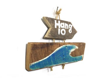 Personalize This Original Art Item-Hang Ten Beach Art Handmade on Reclaimed Wood Kids Room Beach Nursery Coastal Wall Art Mangoseed