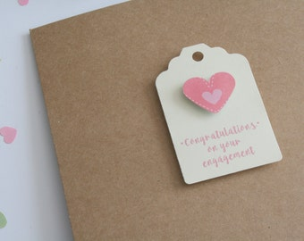Congratulations engagement card, love heart card, celebration card, Kraft square card and envelope, card for couple, best wishes card