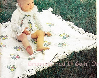 Knitting Crochet Pattern - Baby Blanket Embroidered White Dress - PDF Instant Download - Ruffled Collar Dress Digital Pattern - Baby Blanket