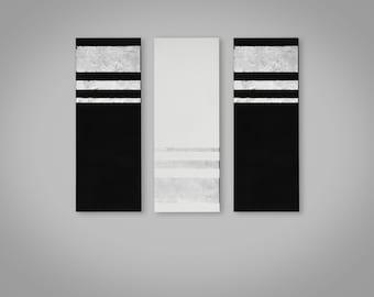 Set of Three Silver Leaf and Black Acrylic on Canvas Paintings, Set of Three Minimalist Geometric Wall Art Paintings on Canvas