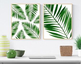 Tropical leaf prints, palm leaf wall art, botanical leaf prints, set of two, printable wall art