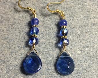 Blue mottled Czech glass briolette dangle earrings adorned with blue Czech glass beads.