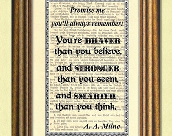 Braver Than You Believe - Dictionary art print - Wall Art - book page print recycled -