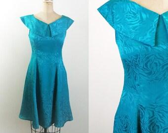 Vintage Teal Satin Dress Vintage Collar Dress Teal Vintage Dress Teal 60s Dress Teal 50s Dress Teal Floral Dress Teal 70s Dress Zebra