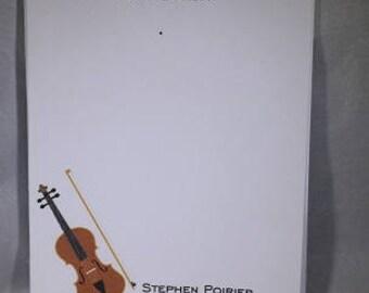 Violin Notepad, Music teacher Notepad, Violin Gift