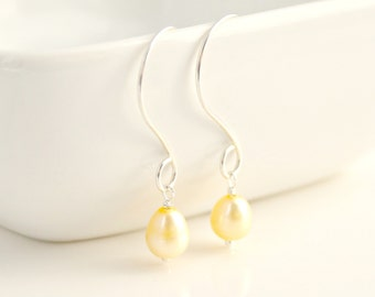 Yellow Pearl and Sterling Silver Dangle Earrings / Light Buttercup Yellow Pearl / Bridal / Natural Handmade Jewelry / E107