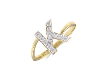 14K Solid Yellow Gold Cubic Zirconia Initial Letter Ring - A-Z Any Alphabet Finger Band