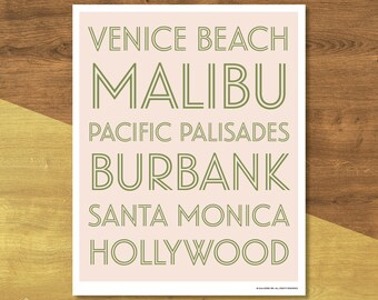 Los Angeles Neighborhoods Poster | Digital Download