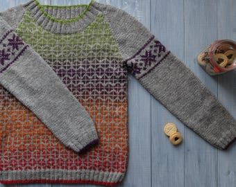 SOLD Jacquard sweater hand-knit Softer