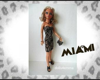 Tiffany Taylor Doll Clothes - MIAMI - Sexy Dress, Purse and Jewelry - Handmade Fashion - by dolls4emma