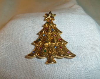 Christmas Tree Brooch by Liz Claiborne, Gold Tone Metal and Multi color Rhinestones 1.75 inches