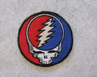 Embroidered Grateful Dead Iron On Patch, Iron On Patch, Rock And Roll Patch, Iron On Applique, Iron On Applique, Grateful Dead Patch