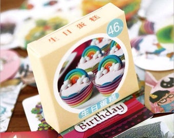 46 stickers with happy birthday cakes
