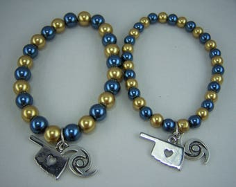 B295, Blue and Gold Glass Pearls with Oklahoma and Hurricane Charm Bracelet