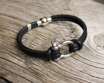 Nautical leather bracelet - Steel boat shackle - Montauk in Stainless steel