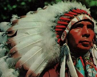 native american chief /// Mid Century 1950's Vintage Postcard