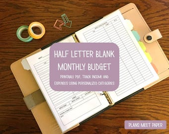 PRINTABLE Half Letter Monthly Budget- Blank Categories
