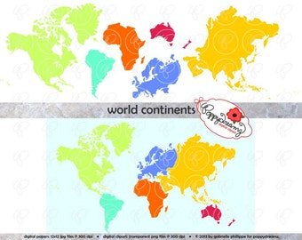 World Continents Digital Clip Art: North America South America Europe Asia Africa Australia Map Teaching Travel Clipart