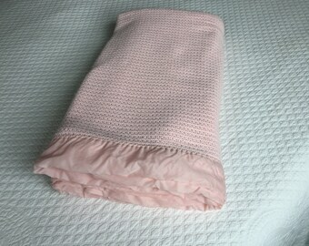Pretty Pink Cotton Summer Blanket With Silky Ruffle Binding