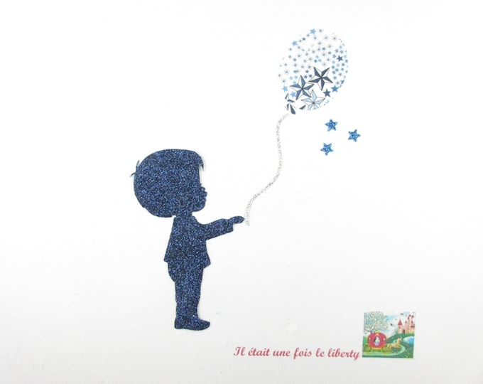 Applied shape in your little boy and balloon fabric liberty Adelajda blue flex glitter patch iron on fusible boy pattern