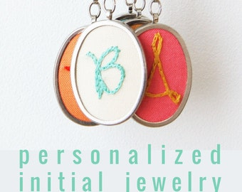 Teen Girl Jewelry. Modern Embroidery. Letter Pendant Initial Necklace Letter. Personalized Jewelry. Embroidered Letter.  Colorful Necklace