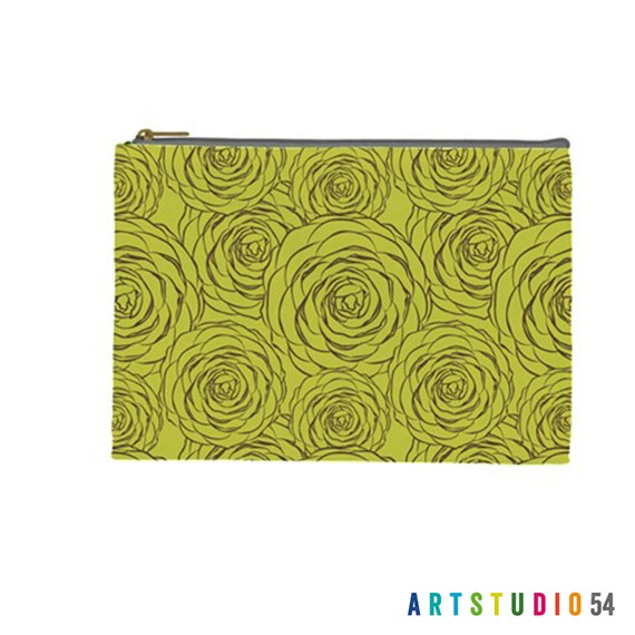 """Flower Pattern on a Pouch, Make Up, Cosmetic Case Travel Bag - Lime Green - 9"""" X 6"""" -  Large -  Made by artstudio54"""