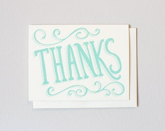 Thanks Screen Printed Greeting Card