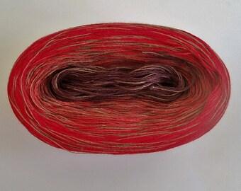 RASPBERRY MEDLEY IV --mega--  Color Changing Cotton yarn  865 yards/180 gr  Fingering Weight