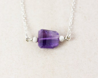 Genuine Purple Amethyst Necklace - Freeform Amethyst - Pendant