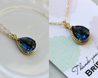 Gold Sapphire Necklace Navy Blue Wedding Necklace Jewelry Bridesmaid Gift Jewelry Sapphire Jewelry Gift Under 30 Gold Navy Blue Jewelry