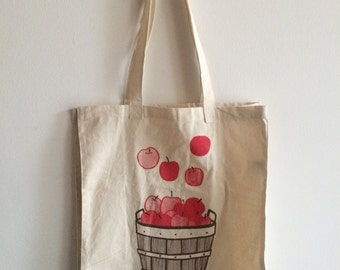 Apple Tote Bag, Market Tote, Food Bag, Reusable Bag