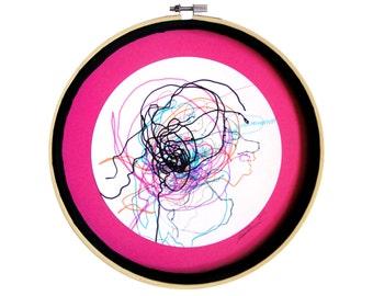 """Déco colorée : """"La météo des sentiments"""" dessin techniques mixtes, mandala, décoration originale, art intuitif, déco cercle, pièce unique"""