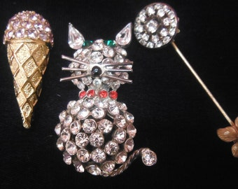 Three vintage rhinestone pins, lot, 1960's