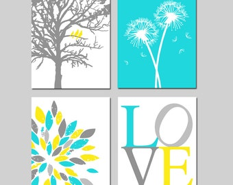 Yellow Aqua Gray Baby Nursery Art Quad - Birds in a Tree, Love, Abstract Floral, Dandelions - Set of Four 8x10 Prints - CHOOSE YOUR COLORS
