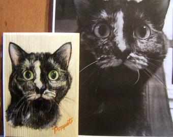 Custom Pet Portrait on 5x7 wooden plaque