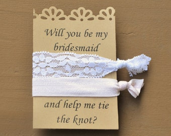 BRIDESMAID Hair Tie Proposal/Wedding Elastic Hair Tie/Pink and Lace