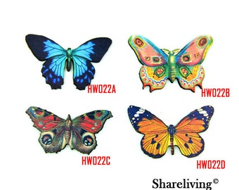 Vintage Butterfly Wood Charms, Laser Cut Wooden Butterfly Pendants