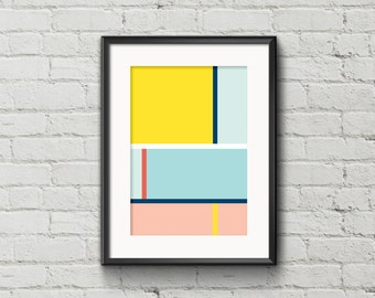 """Mondrian Lines Poster, Lines Minimalist Poster, Geometric Abstract Art, Colorful Digital Poster, Instant download, """"HORIZON3"""""""