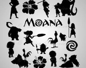 """Buy 2 Get 1 Free! Digital Clipart Silhouettes """"Moana"""" cartoon characters Disney, pua, rooster black images png/eps/svg/dxf and studio files"""