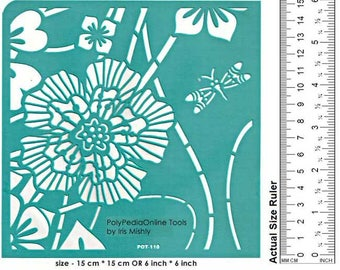 "Stencil Stencils Pattern Template, Reusable, Adhesive, Flexible, Stencils fabric, wood, glass, metal, pochoirs | BIG FLOWER | 6"" 15cm"