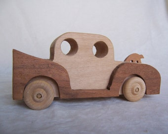 Solid Wood Car ,Handcrafted from Recycled Tough Oak, for the Children, Kids, Boys and Girls