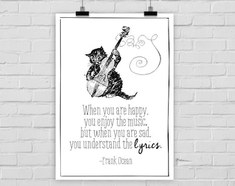 fine-art print poster HAPPY / SAD music cat vintage