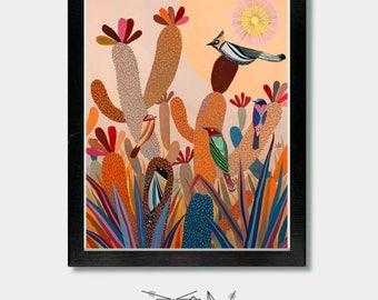 Cactus Art, Southwest Sunset. Cactus Art, Bird Art, Folk, Cactus Print, Arizona, Desert Art, Southwest, Southwestern Decor, Mexican Folk Art