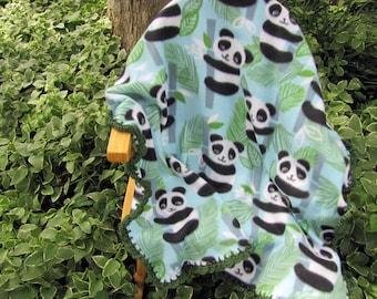 Panda Crochet Bordered Fleece Baby Blanket